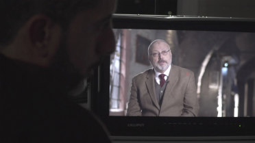 Jamal Khashoggi being interviewed. Khashoggi was an outspoken critic of the Saudi royal family.