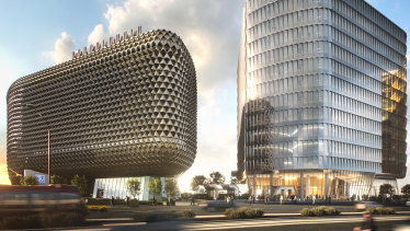 Renders of the Australian Bragg Centre, Adelaide, (building on the right) which has been acquired by Dexus and its wholesale fund.