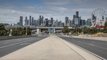An empty Melbourne during lockdown.