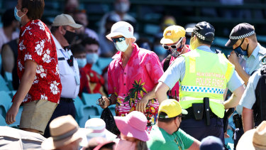 Police remove six men from the SCG   after more allegations of abuse were levelled by the tourists.