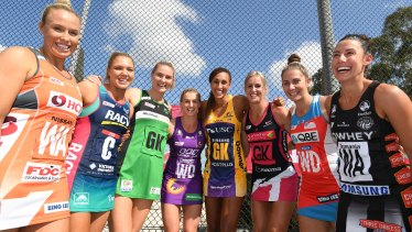Calm before the storm: Super Netball's captains gathered for Monday's season launch.