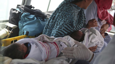 Babies in an ambulance after gunmen attacked a maternity hospital in Kabul in May 2020.