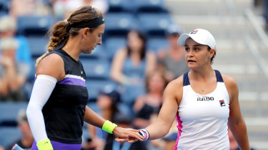 Victoria Azarenka (left) and Ash Barty during this year's US Open.
