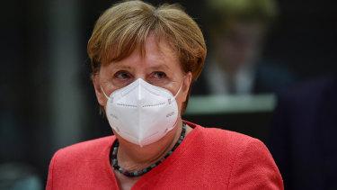 German Chancellor Angela Merkel at the crunch summit in Brussels.