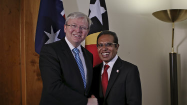 Taur Matan Ruak then president of East Timor, with then Australian prime minister Kevin Rudd in 2013