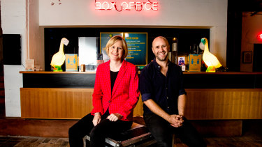 Belvoir Theatre's artistic director Eamon Flack and ABC reporter Sally Sara, who has penned a debut play about a foreign correspondent who returns to Australia to find everything changed.