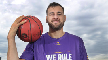 Bogut at the launch of the NBL Finals series on Monday.