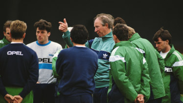 Jack Charlton at a Republic Of Ireland training session in Dublin in 1991.