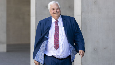 Businessman Clive Palmer is seen leaving the Supreme Court on Thursday.
