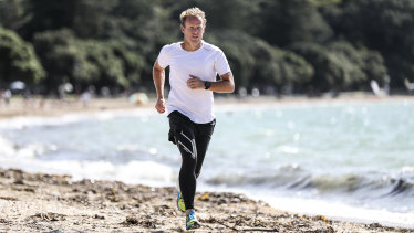 Jamie Hunt, co-founder of 2XU, running in New Zealand.