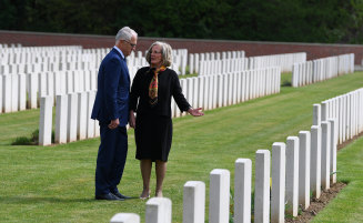 Malcolm and Lucy Turnbull visit the grave of Lucy's grand uncle at Heilly Station cemetery near Amiens.