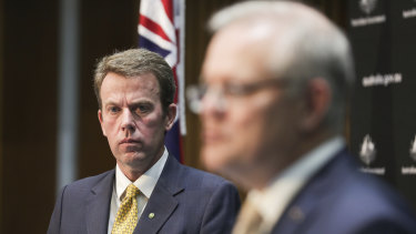 Federal Education Minister Dan Tehan and Prime Minister Scott Morrison in Canberra earlier today.