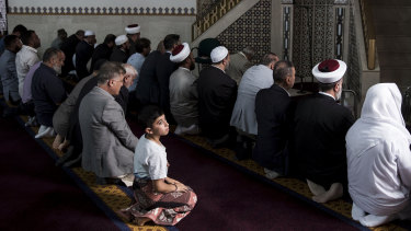 The Lakemba Mosque during Prime Minister Scott Morrison's visit on Saturday.