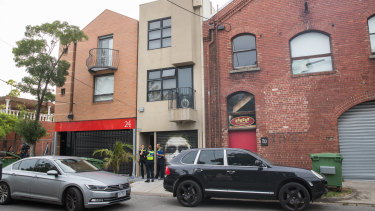 Police raided a property on Lalor Street, Port Melbourne.