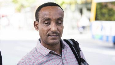 Umar Subi Gammeda leaves Brisbane Magistrates Court, on Friday.