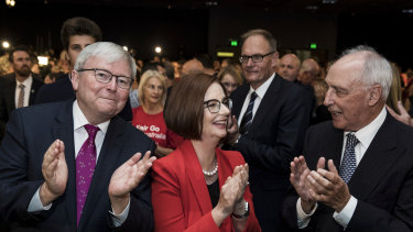 Kevin Rudd, Julia Gillard and Paul Keating at Labor's campaign launch on Sunday.