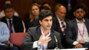 Afterpay chief executive Nick Molnar at Senate hearings this year.