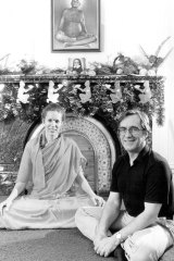 George Ogilvie and Swami Dayananda at the Siddha Meditation Ashram in Newtown, 1981.