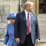 Trump appeared to have ignored the book on royal protocol, walking in front of the Queen at Windsor in 2018.
