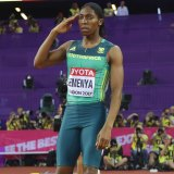 Salute: Semenya after winning the 800m at last year's world championships in London.