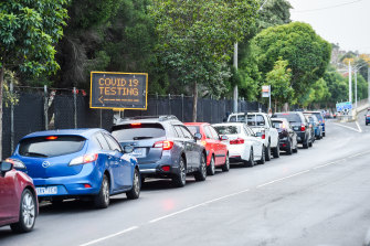 Queues at the Moonee Valley Racecourse testing centre.