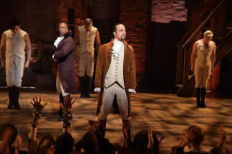 Actor Leslie Odom jnr (left) and actor- composer Lin-Manuel Miranda (right) with the cast of Hamilton during a performance for the 2016 Grammy Awards in New York.
