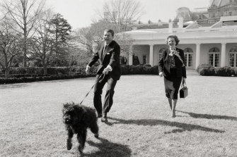 Reagan and Thatcher walk his dog, Lucky, on the White House Lawn in 1985.