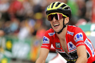 Simon Yates at the 2018 Vuelta a Espana, which he won in a first for his Australian-registered team.