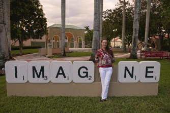 Emma Anna with the IMAG_NE she made for City of Boca Raton in 2016.