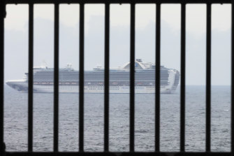 The Ruby Princess cruise ship is seen from Kurnell National Park in Sydney.