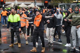 Protesters on Elizabeth Street on Monday.