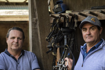 Richard and Michael Freedman at their stables in Randwick.