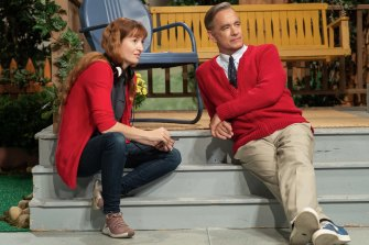 Marielle Heller and Tom Hanks on the set of A Beautiful Day in the Neighborhood.