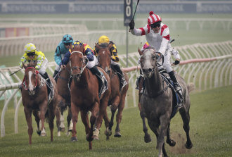 Kerrin McEvoy salutes as Classique Legend bolts away with The Everest last year.