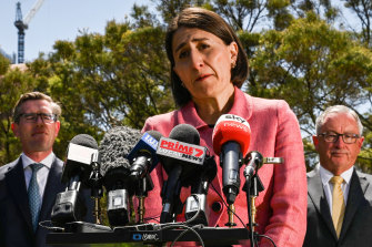 NSW Premier Gladys Berejiklian fronts the media on Tuesday.