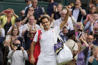 Roger Federer leaves the court after being defeated by Poland's Hubert Hurkacz.