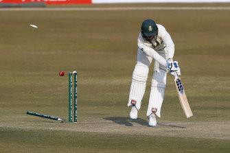 South Africa's Rassie van der Dussen is bowled during the recent Test series against Pakistan.