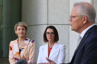Minister for Employment, Skills, Small and Family Business Michaelia Cash, Families and Social Services Minister Anne Ruston and Prime Minister Scott Morrison announce a permanent rise to JobSeeker.