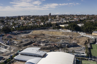 The remains of Allianz Stadium in Moore Park.