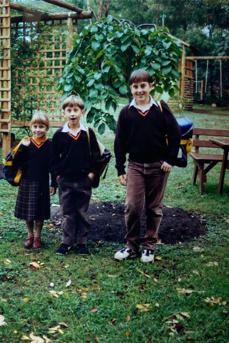 Jo Barrett at age 5, with her brothers Aidan and Michael.