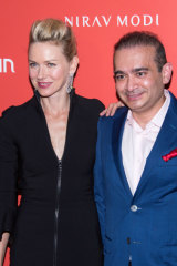 Nirav Modi with actor Naomi Watts at the opening of his New York boutique in 2015.