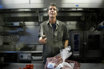 Bourdain back in the kitchen during a 2005 visit to Sydney.