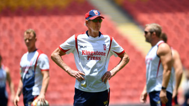 Perfect choice: Wayne Bennett with England at Suncorp Stadium in 2017.