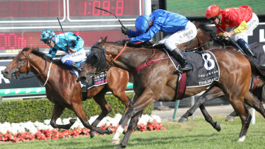 Flying home: Exhilarates nails Dubious to win the Magic Millions Classic on Saturday.