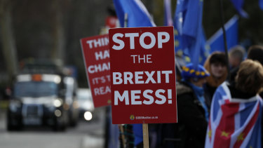 Pro-European demonstrators protest outside parliament in London on  Friday.