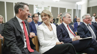 The newly elected deputy Labor leader, Richard Marles, and deputy Senate leader Kristina Keneally in Canberra on Thursday.