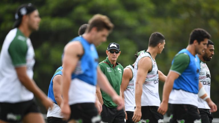 Getting down to business: Bennett runs Souths players through their paces at training on Tuesday.
