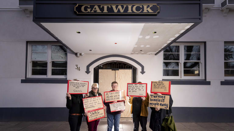 Homelessness support workers including SJ Finn and Billi Clarke outside the Gatwick, where they will gather on Sunday to protest the increase of homelessness in St Kilda since the former boarding house was sold.