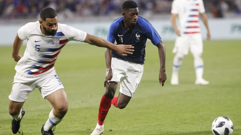 France's Ousmane Dembele, right, and United States' Cameron Carter-Vickers.