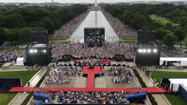 The crowd did line both sides of the National Mall in Washington this time.